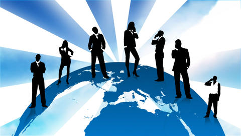 Business People Silhouettes Standing On The Planet stock footage
