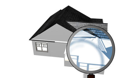 Magnifying glass examining a house. Architecture and home ownership Animation