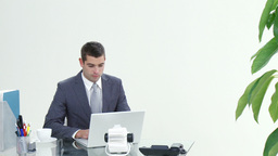 Panorama of businessman working in office Stock Video Footage