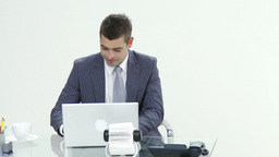 Successful businessman working in office Footage