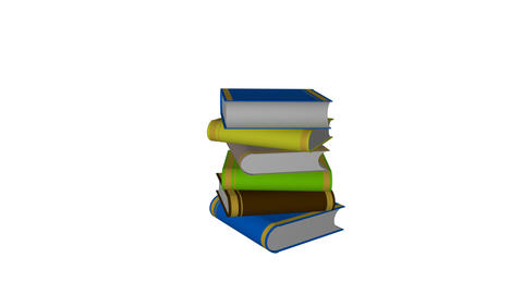 Tower books with a graduated human icon Animation