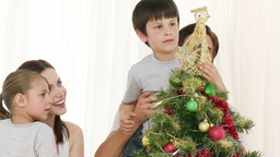 Family decorating a Christmas tree at home Stock Video Footage