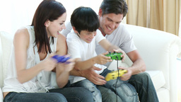Family playing video Games at home Footage