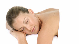 Young attractive woman relaxed at a health spa Footage