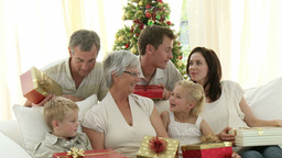 Happy Family at Christmas Stock Video Footage