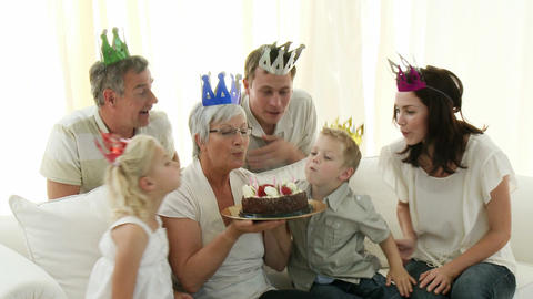 Grandmother Having Her Retirement Party stock footage