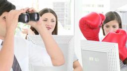 Businessman looking through binoculars Footage