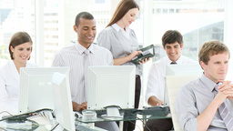 Business team working in an office Footage