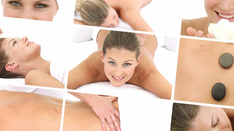 Woman relaxing at a spa Footage