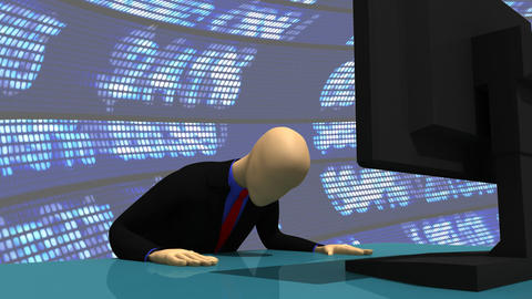 Animation presenting a 3d man using his computer Stock Video Footage