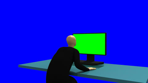 Animated graphics showing a 3dman standing in front of a... Stock Video Footage
