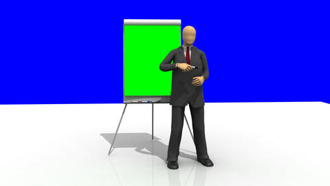 Computer animation showing a 3dman giving a presen Animation