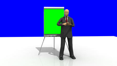 Computer animation showing a 3dman giving a presen Stock Video Footage