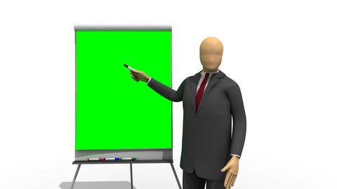 Animation showing 3dman explaining on a green boar Stock Video Footage