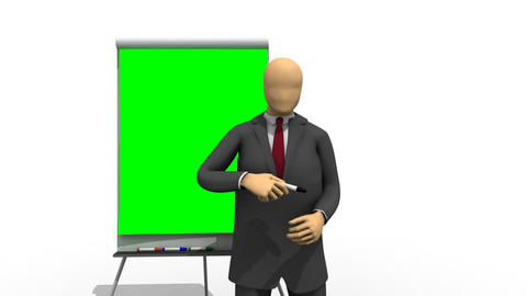 Animation showing 3dman explaining on a green boar Animation