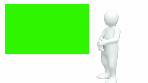 Computer animated graphics showing 3d man looking at a green picture Animation