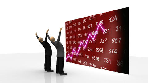 Animation showing 3d men observing share market on a screen Animation