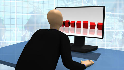 Animation showing 3d man looking at a desktop Stock Video Footage