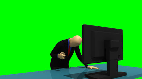 Animated graphics showing a glowing 3d man looking Animation