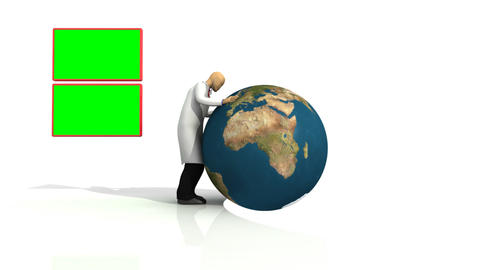 Animation representing a 3d doctor with a globe against white background Animation