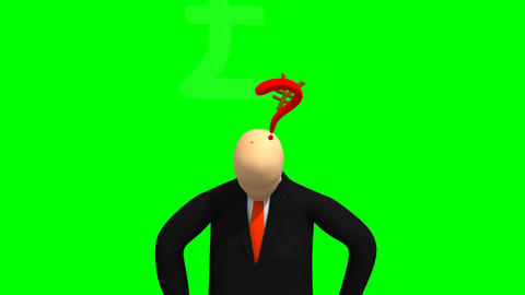Animation representing 3d man thinking against gre Footage
