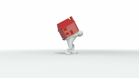 Animation showing 3d man holding a house on his ba Animation