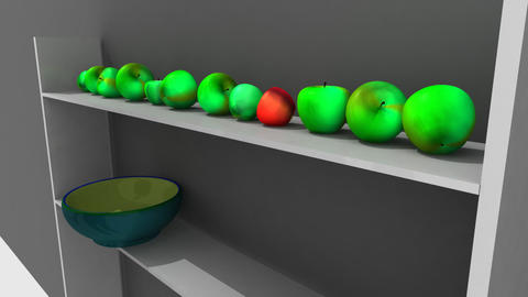 Animation showing 3dapple on a shelf Animation