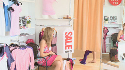 008Cute woman waiting for her girlfriend who stand Stock Video Footage