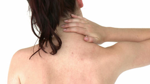 Glowing woman having a headache Stock Video Footage