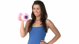 Positive asian woman working out with dumbbell Stock Video Footage