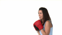 Athletic asian woman with boxing gloves Footage