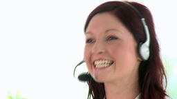 Happy businesswoman using headset Stock Video Footage