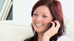 Delighted caucasian woman talking on phone Stock Video Footage