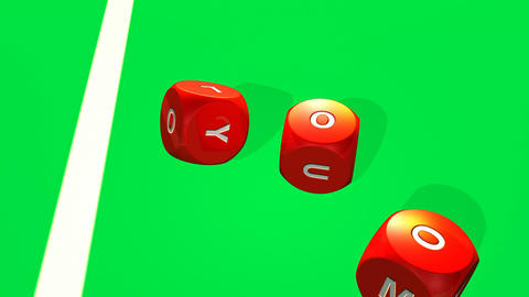 Rolling red dices against a bright casino backgrou Footage