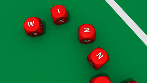 Several rolling red dices against a dark casino ba Stock Video Footage