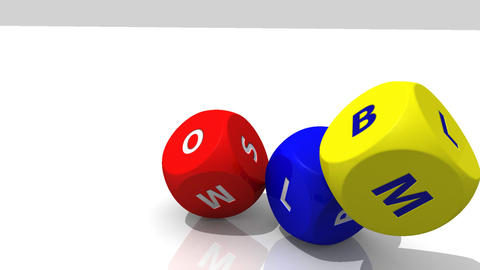 3D multicolour dices rolling against a white backg Stock Video Footage