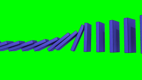 3D blue dominos falling against a green background Stock Video Footage