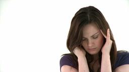 Beautiful woman having a headache Footage