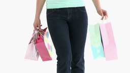 Close up of a woman holding shopping bags Footage