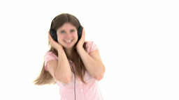 teenager with headset on Footage