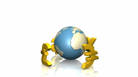 3d currencies turning around the world Animation