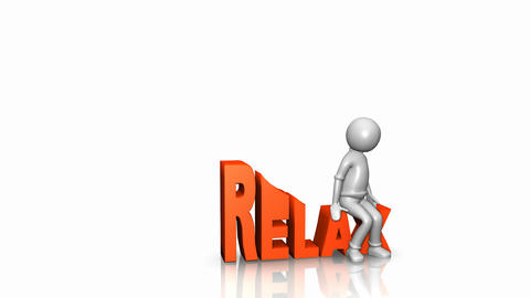 3D man lying on the word relax Animation