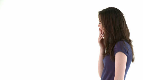 woman showing a white wall to the camera Animation