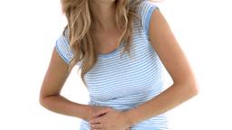 Diseased woman having stomach cramps Footage