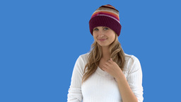 Charming caucasian woman with a colorful hat Footage