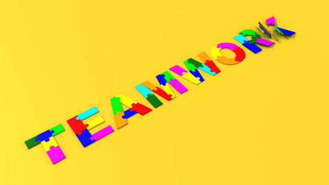 3d Colourful Puzzle Falling Showing Teamwork stock footage