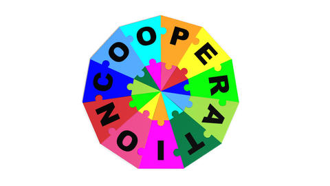 3d puzzle forming the word cooperation Animation