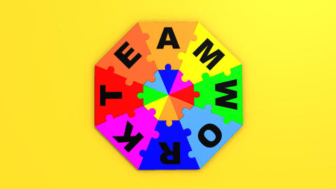 3d pieces forming the word teamwork Animation