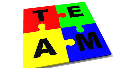 4 pieces showing the word team Animation