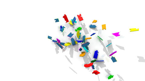 3d pieces forming the word teamwork Stock Video Footage